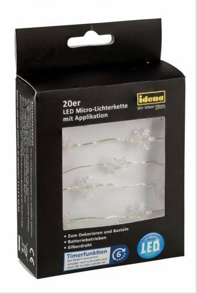 20er Led Micro Lichterkette Schneeflocken Zum Dekorieren Basteln Verzieren Mit 6h Timer Länge 1